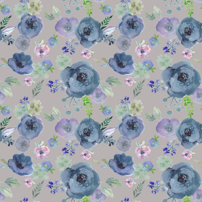 Violet and Blue Watercolour Floral Print