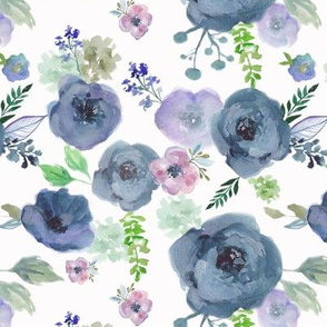 navy and violet florals on white