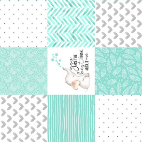 Elephant//You are the best thing about me// Teal - Wholecloth Cheater Quilt  - Rotated