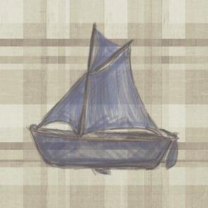 Sailboat on Distressed Lt Plaid