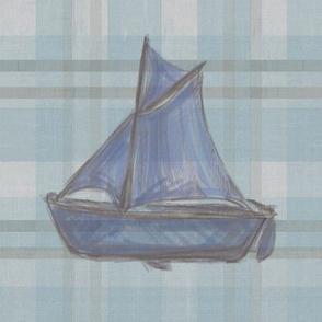 Sailboat on Distressed Teal Plaid