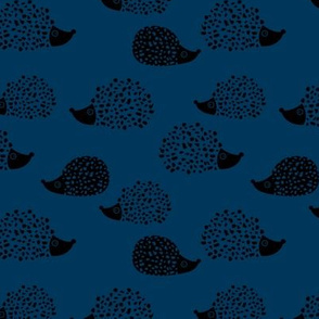 Sweet Scandinavian hedgehog garden animals for kids illustration fall winter night navy blue