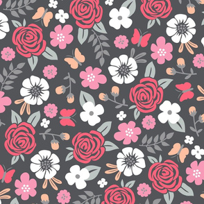 Flowers and Roses  Floral Red on Dark Grey Larger