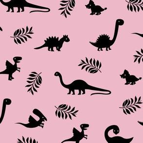 Minimal tropical dinosaur garden palm leaf summer swim design pink