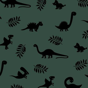 Minimal tropical dinosaur garden palm leaf summer swim design army green