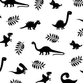 Minimal tropical dinosaur garden palm leaf summer swim design monochrome black and white