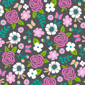 Flowers and Roses  Floral Pink on Dark grey Large