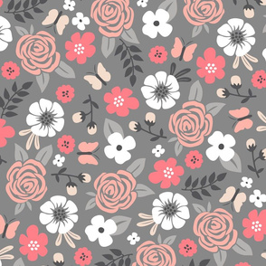 Flowers and Roses Floral on Grey Large