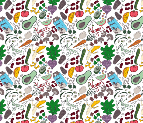 Vegan foods fabric by ruth_robson on Spoonflower - custom fabric