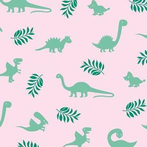 Minimal tropical dinosaur garden palm leaf summer swim design green pink