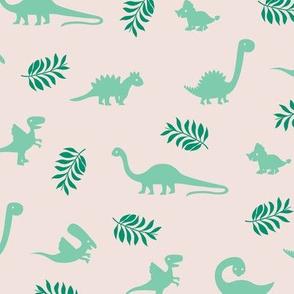 Minimal tropical dinosaur garden palm leaf summer swim design green beige