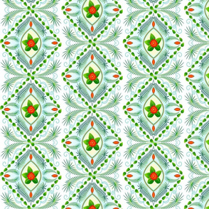 Tropical bohemian stripes in green, yellow, red, white and blue