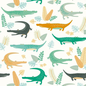 crocodiles and leaves