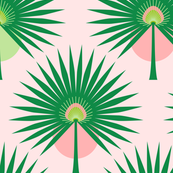 Fan Palm Leaves on Pink - Large