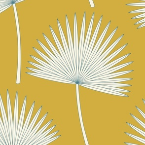 Boho sunshine palm leaves on mustard green