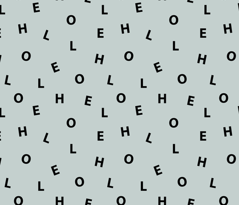 Sweet HELLO minimal hello text design abstract typography print with expressions from the heart dusty green fabric by littlesmilemakers on Spoonflower - custom fabric
