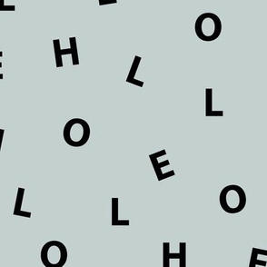 Sweet HELLO minimal hello text design abstract typography print with expressions from the heart dusty green