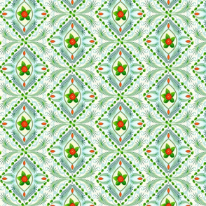 Tropical bohemian design in green, yellow, red, white and blue