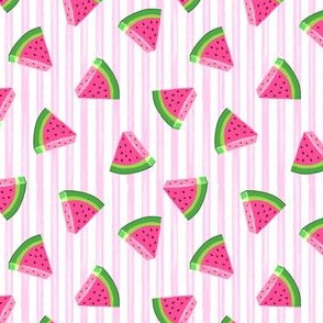 (extra small scale) watermelons (pink stripes)- summer fruit fabric (90)- LAD19BS