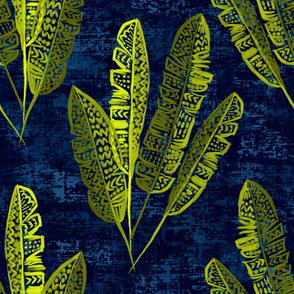 Boho Heliconia Leaves at midnight