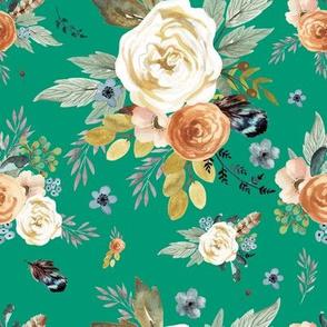 "8"" Western Autumn More Florals /  Emerald Green"