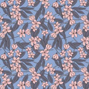 Sakura - Cherry Blossom Branches, Blue and Blush Pink