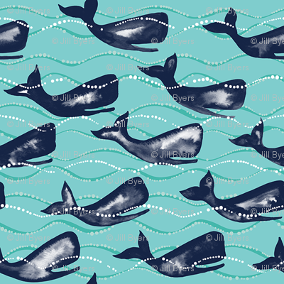 Whales in Waves smaller - blue