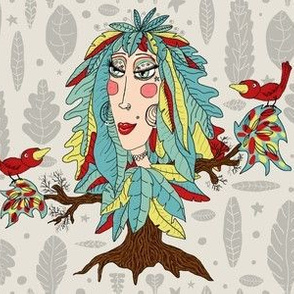 bohemian boho tree, leaves and feather fantasy woman dryad goddess, large scale, gray grey green yellow red brown taupe beige quirky