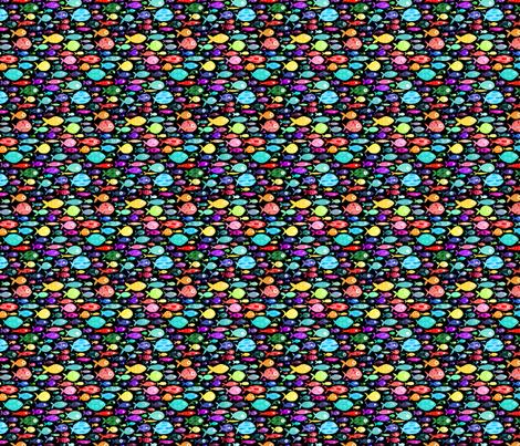 Rainbow fish - black background - smaller scale fabric by emeryallardsmith on Spoonflower - custom fabric