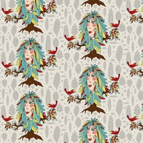 bohemian boho tree, leaves and feather woman fantasy, small scale, gray grey green yellow red brown taupe beige quirky