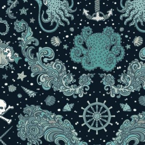 Nautical Damask Navy Large Scale