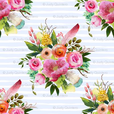 """4"""" Summer Teepee Florals Offset - Light Blue Stripes"""