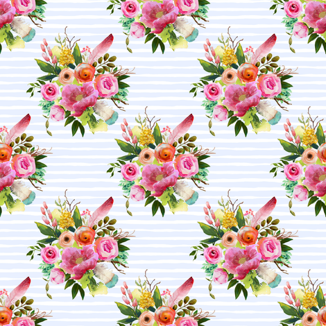"""4"""" Summer Teepee Florals Offset - Light Blue Stripes fabric by shopcabin on Spoonflower - custom fabric"""