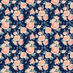 "2"" Coral Grey and MInt Florals - Navy"