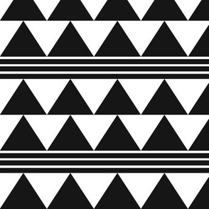 Triangles and stripes - black and white - medium