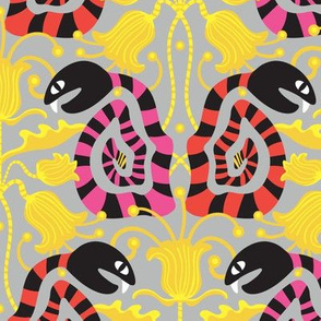 Snake Eyes Watching Graphic Bold Black White Bright Colours