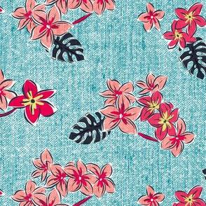 Frangipani Floral - Resort Sun Bleached Aqua