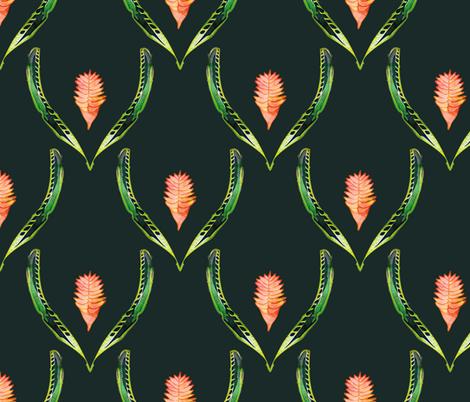 Heliconia Blossom  Black fabric by bruxamagica on Spoonflower - custom fabric