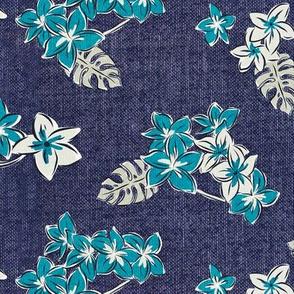 Frangipani Floral - Resort Blue