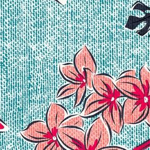 Frangipani Floral - Resort Sun Bleached Aqua Jumbo Scale