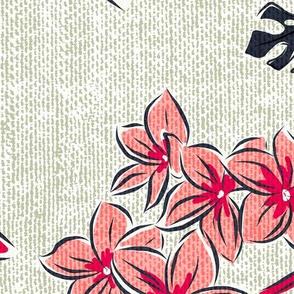Frangipani Floral - Resort Sun Bleached Beige Jumbo Scale