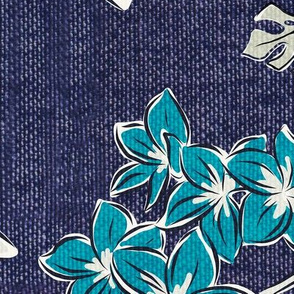 Frangipani Floral - Resort Blue Jumbo Scale