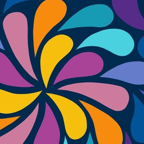 In a Spin 70s  - navy, purple and orange