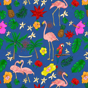 Boho Flamingos on Blue