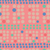 Polka Dots Traditional Textile Pink Blue Green Red Cream