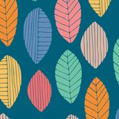 Tea Leaves Hand Prints Multi-Colour on Blue