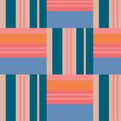 Woven Look Geometric Striped Blue Pink Orange Cream