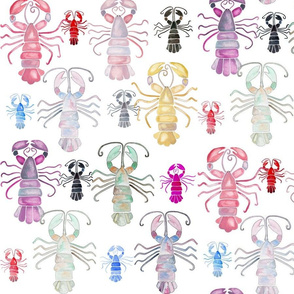 Watercolour Lobsters (Larger Scale)