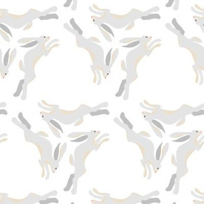 1950s Gray Hares Running in Triangles on White