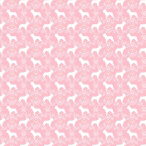SMALL - french bulldog florals silhouette frenchie dog pink